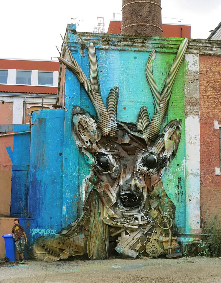 Street art, Bordalo II, trash animals, modern art, стрит арт, уличное искусство, отходы, животные, изображение, уличный художник